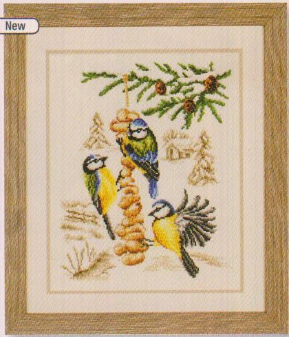 click here to view larger image of Birds on Feeder (counted cross stitch kit)