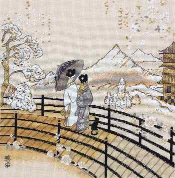 click here to view larger image of Kimono Pagoda View (counted cross stitch kit)