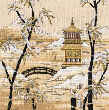 click here to view larger image of Kimono Pagoda Horizon (counted cross stitch kit)