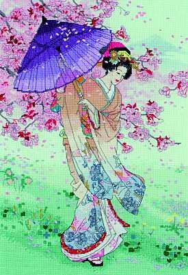 click here to view larger image of Yumezakura (counted cross stitch kit)