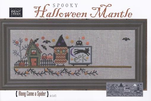 click here to view larger image of Spooky Halloween Mantle - Along Came A Spider (counted cross stitch kit)