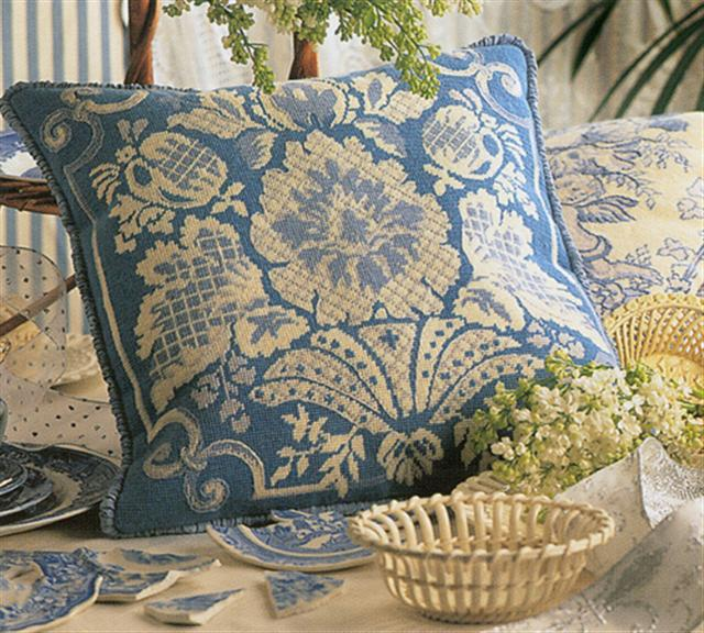 click here to view larger image of 18th Century Damask Cushion (needlepoint)