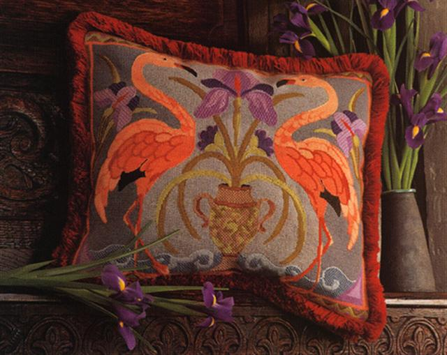 click here to view larger image of Flamingos Cushion (needlepoint)