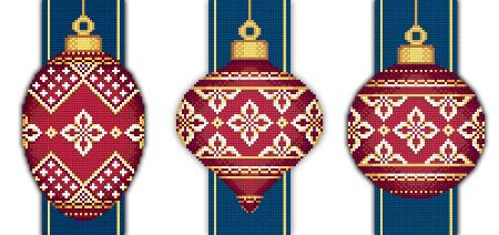 click here to view larger image of Red Faberge Christmas Ornaments Collection 4 (3 designs) (chart)