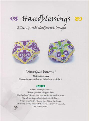 click here to view larger image of Fleur De Lis Biscornu (chart with charms/buttons)