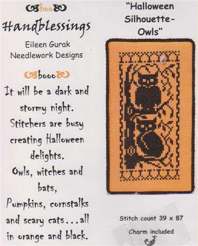 click here to view larger image of Halloween Silhouette- Owls (chart with charms/buttons)