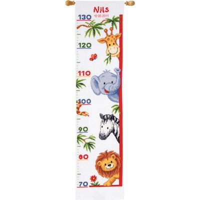 click here to view larger image of Zoo Animals Height Chart (counted cross stitch kit)