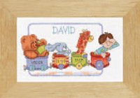 click here to view larger image of Happy Birthday Train - David - 14ct (counted cross stitch kit)