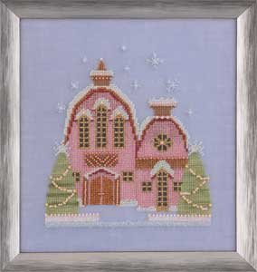 click here to view larger image of Little Snowy Pink Cottage (Snow Globe Series) (chart)