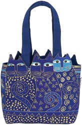 click here to view larger image of Tres Gatos Medium Tote Zipper Top - Blue/Gold (accessory)
