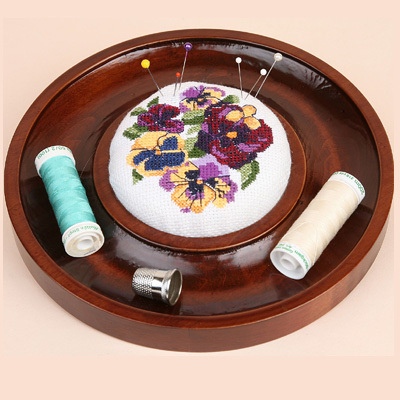 click here to view larger image of Etcetera Round Pincushion - Mahogany (accessory)