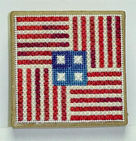 click here to view larger image of Americana Ort Box (Afghan fabric with chart.)