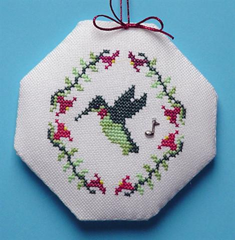 click here to view larger image of Hummingbird Songbird Ornament (chart with charms/buttons)
