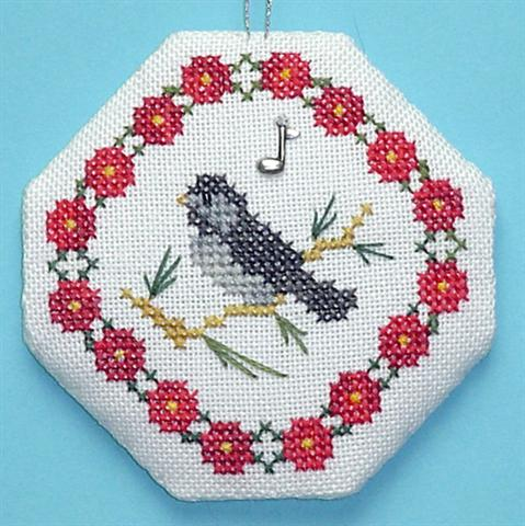 click here to view larger image of Chickadee Songbird Ornament (chart with charms/buttons)
