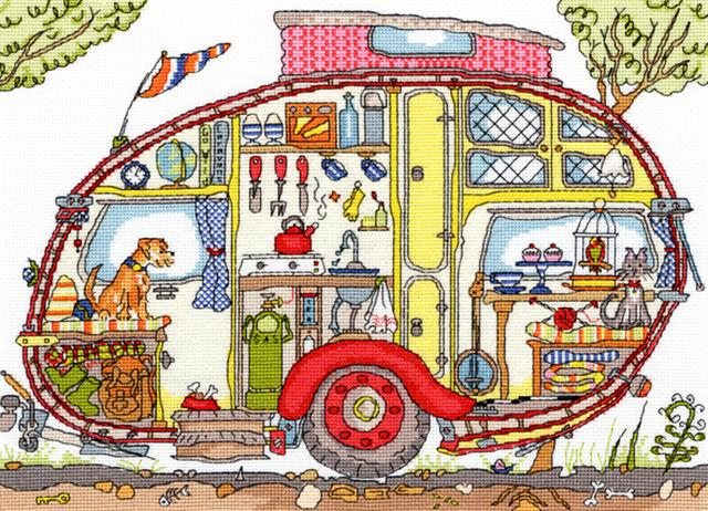 click here to view larger image of Cut Thru Vintage Caravan (counted cross stitch kit)
