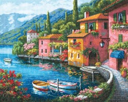 click here to view larger image of Lakeside Village (counted cross stitch kit)