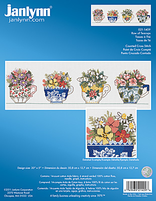 click here to view larger image of Row of Teacups (counted cross stitch kit)
