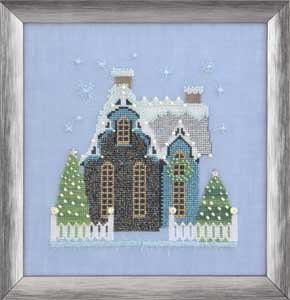 click here to view larger image of Little Snowy Blue Cottage - Snow Globe Village Series (chart)