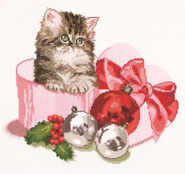 click here to view larger image of Christmas Kitten (counted cross stitch kit)