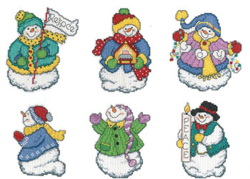 click here to view larger image of Joyous Snowmen Ornaments (chart)