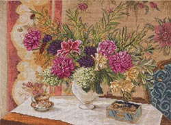 click here to view larger image of Lillies & Peonies - Heirloom Collection (counted cross stitch kit)