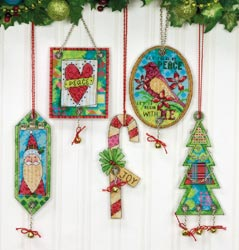 click here to view larger image of Jingle Bells Ornaments (set of 5) (counted cross stitch kit)