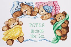 click here to view larger image of Down For A Nap Birth Announcement (counted cross stitch kit)