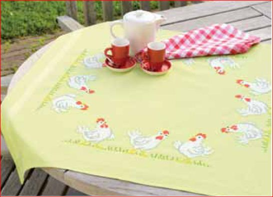 click here to view larger image of Tablecloth Green - Chickens (printed linen)