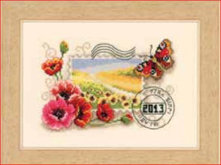 click here to view larger image of Poppies and Sunflowers Stamp With Butterfly (counted cross stitch kit)