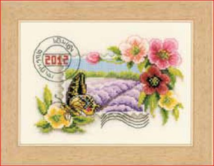 click here to view larger image of Clematis and Lavender Stamp With Butterfly (counted cross stitch kit)