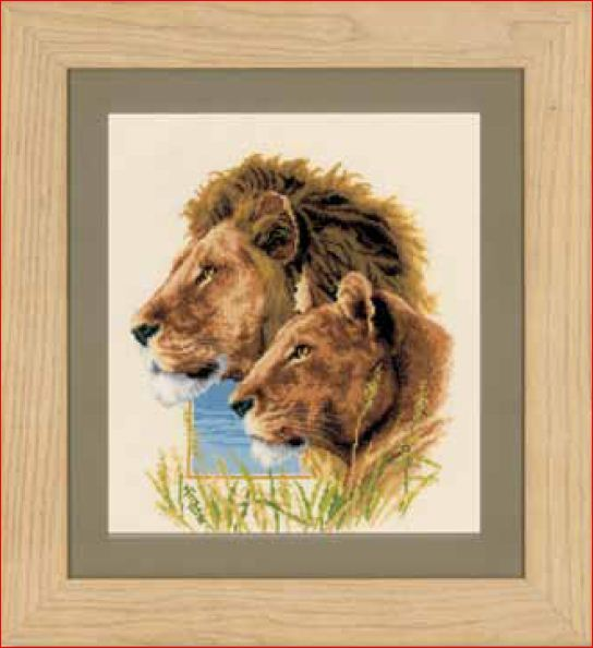click here to view larger image of Lion Couple (counted cross stitch kit)