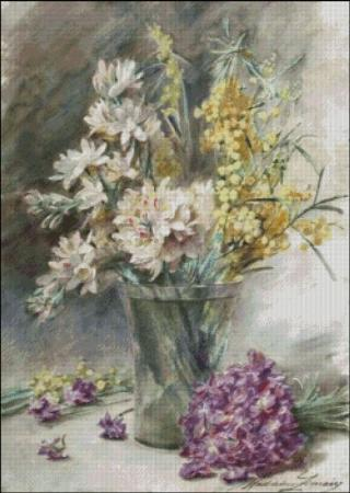 click here to view larger image of Lemaire - Flowers in a Glass Vase (chart)