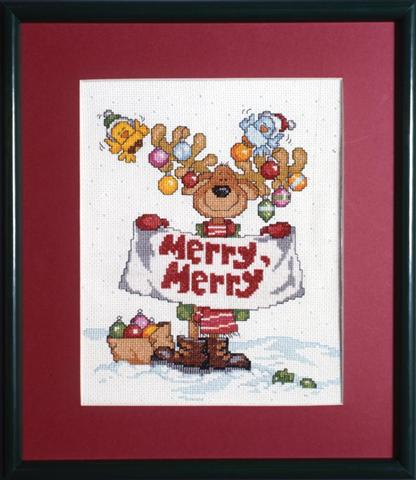click here to view larger image of Merry Merry Moose (counted cross stitch kit)