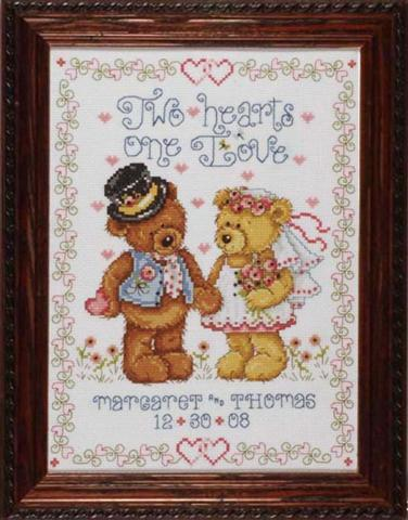 click here to view larger image of Two Hearts Wedding Sampler (counted cross stitch kit)