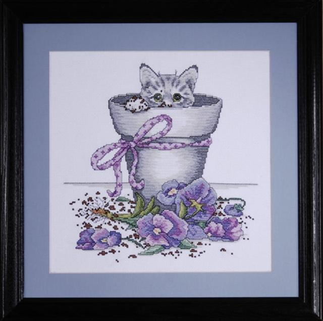 click here to view larger image of Flowerpot Kitty (counted cross stitch kit)