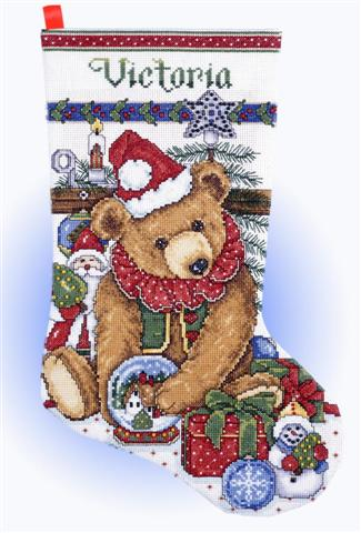 click here to view larger image of Victorian Bear Stocking (counted cross stitch kit)