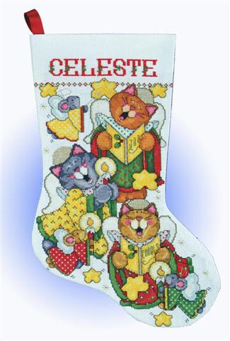 click here to view larger image of Angel Cats Stocking (counted cross stitch kit)