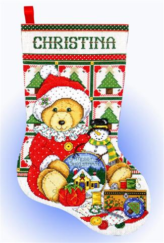 click here to view larger image of Teddy Bear Santa Stocking (counted cross stitch kit)