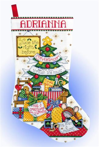 click here to view larger image of Sleepy Mouse Stocking (counted cross stitch kit)