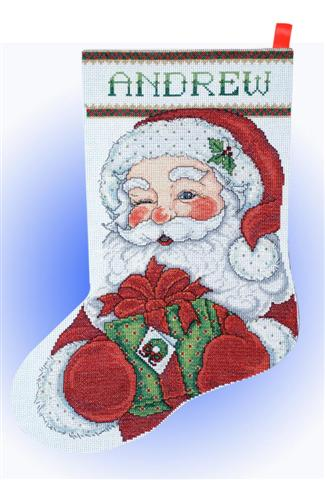 click here to view larger image of Winking Santa Stocking (counted cross stitch kit)