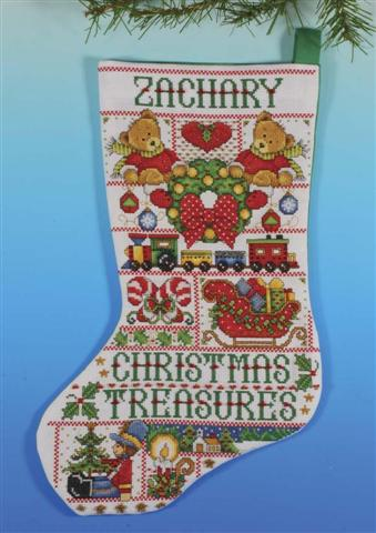 click here to view larger image of Christmas Treasures Stocking (counted cross stitch kit)