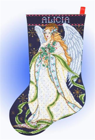 click here to view larger image of Holly Angel Stocking (counted cross stitch kit)
