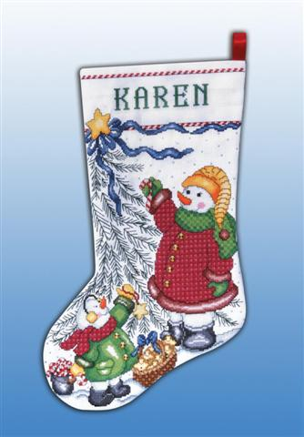 click here to view larger image of Christmas Tree Snowman Stocking (counted cross stitch kit)