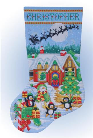 click here to view larger image of Penguin Party Stocking (counted cross stitch kit)