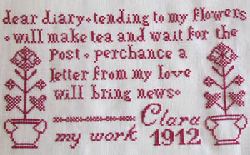 click here to view larger image of Clara's Redwork Sampler (chart)