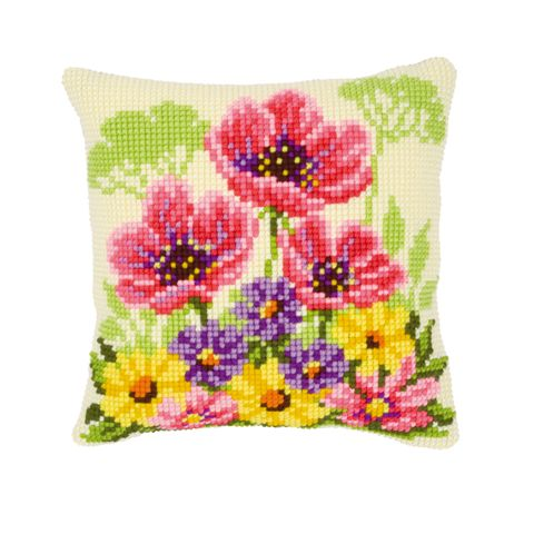 click here to view larger image of Poppy Pillow (counted cross stitch kit)