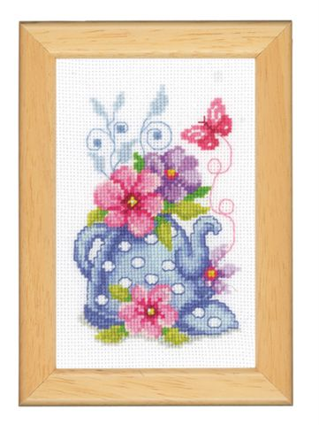 click here to view larger image of Floral Teapot (counted cross stitch kit)