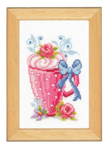 click here to view larger image of Cup With Bow (counted cross stitch kit)