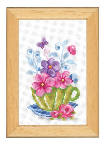click here to view larger image of Cup With Flowers (counted cross stitch kit)