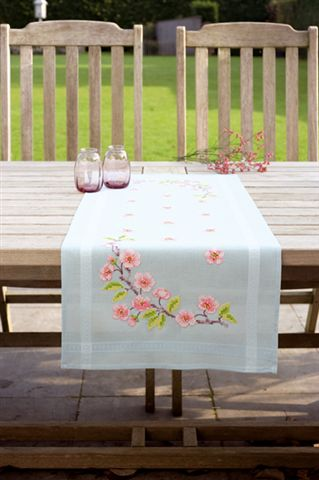 click here to view larger image of Coloured Table Runner - Blue (stamped cross stitch kit)